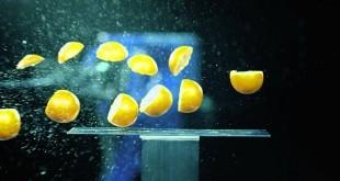 naranjas cortadas por el brazo robótico MH24