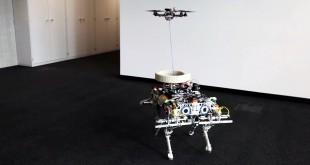 Robot cuadrupedo lanza drones